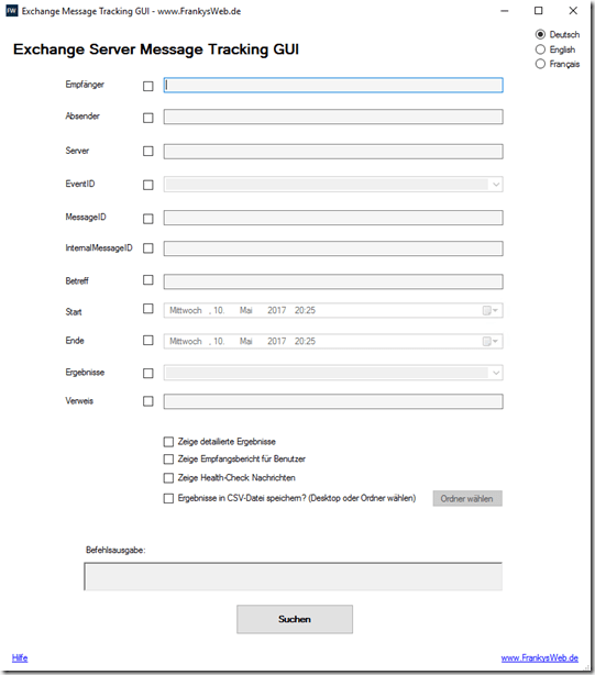Message Tracking GUI