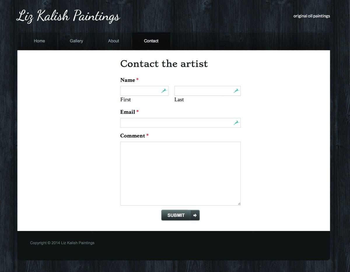 Liz Kalish Paintings contact page