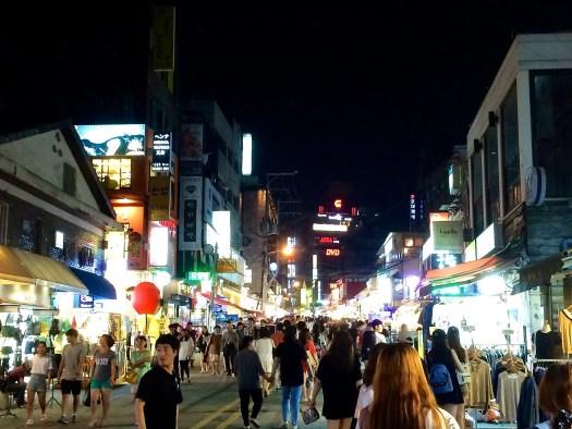 Hongdae, Seoul, at night