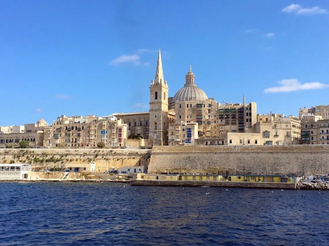 Walled city of Valetta from the boat
