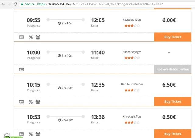 Podgorica to Kotor bus times