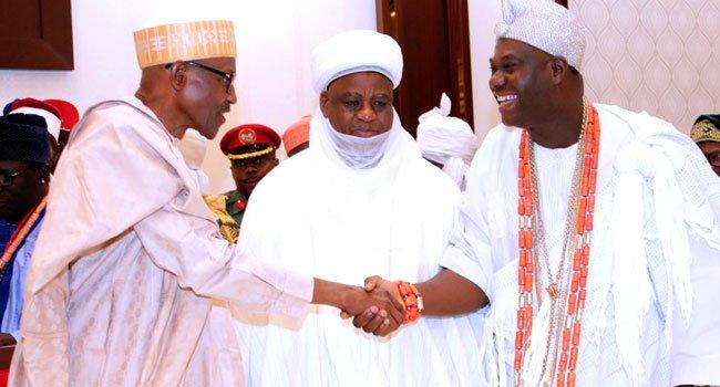 President Buhari Hosts Emir Sanusi, Ooni Of Ife, Sultan Of