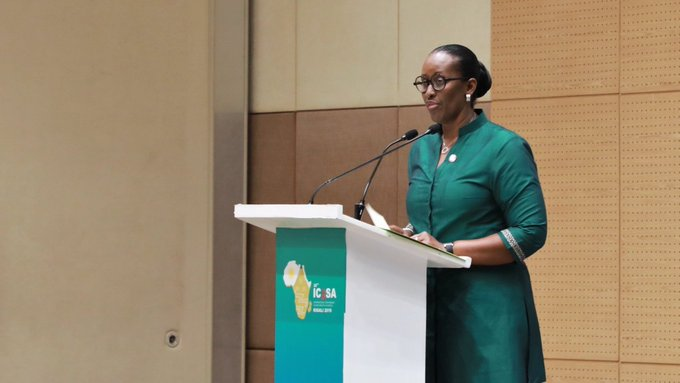 H.E. First Lady of Rwanda at ICASA 2019 Rwanda on ending the HIV epidemic among young women and girls in Africa.