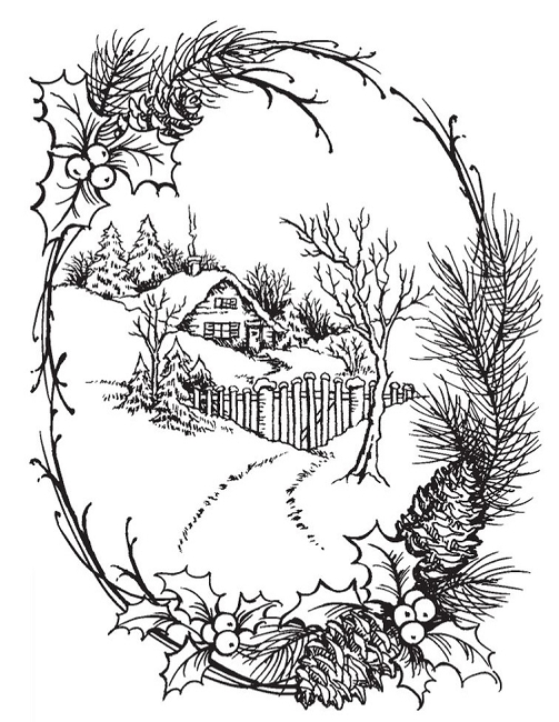 Winter Cabin Scene Coloring Page Coloring Pages