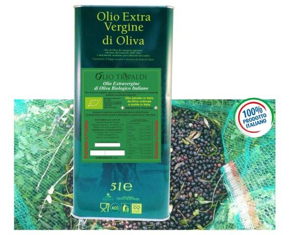 Olio Evo ExtraVergine di Oliva Biologico Estratto a Freddo «Tripaldi» 5 Lt