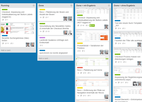Screenshot des A/B-Test Management mit Trello