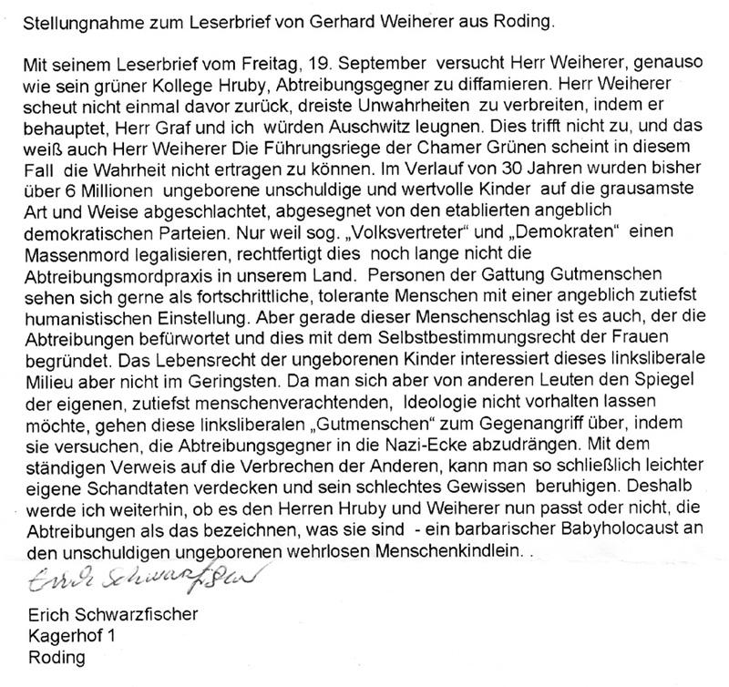 Stellungnahme zum Leserbrief von Gerhard Weiherer aus Roding