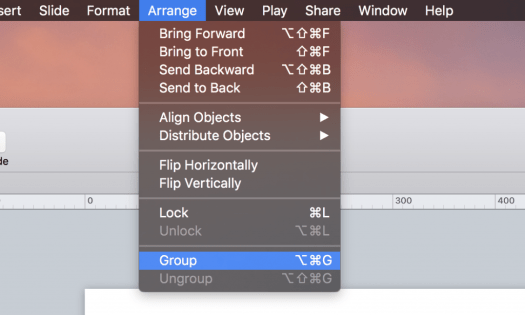 Menu entry for grouping multiple objects to resize them in Keynote