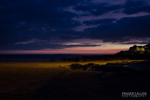 The beach at Croyde after dark