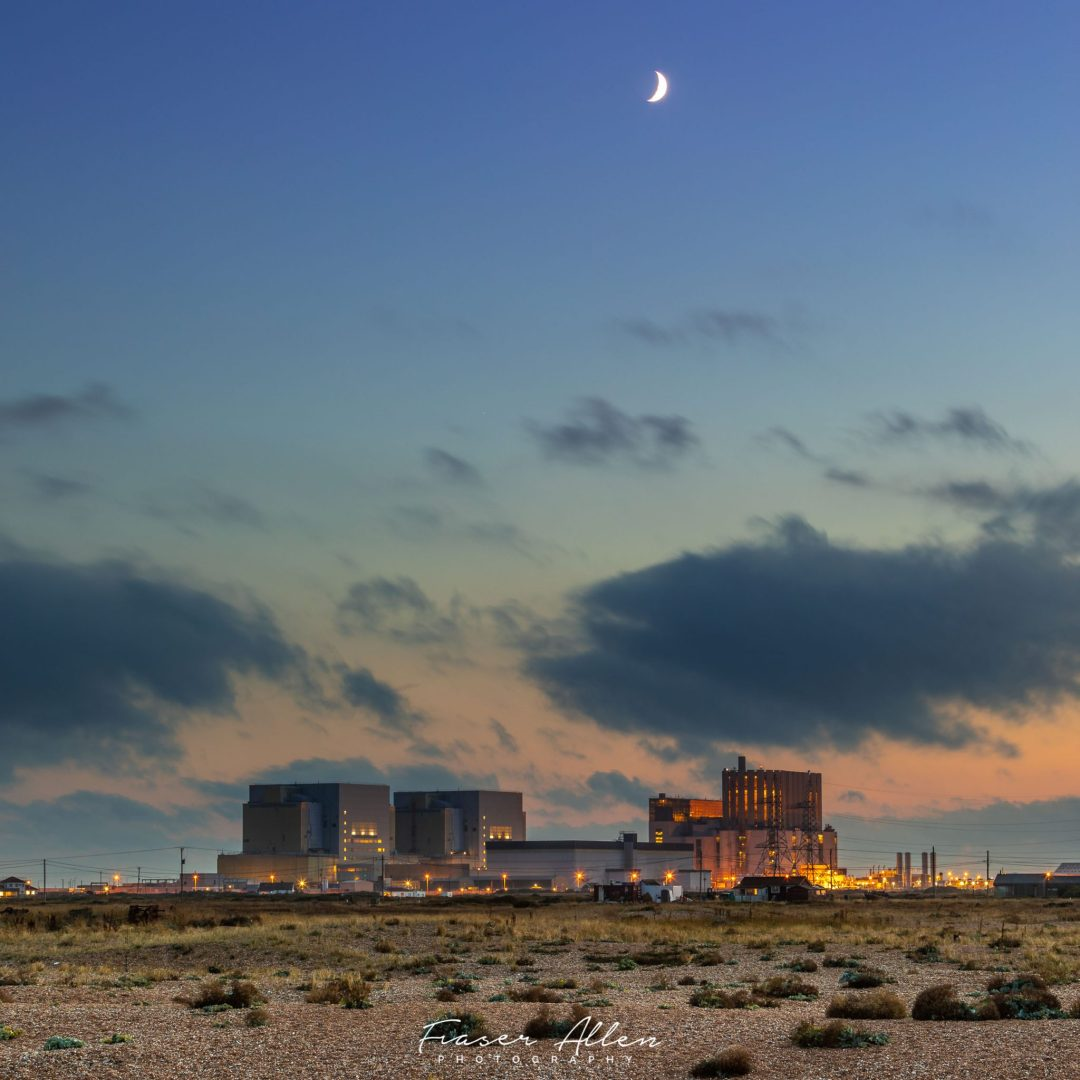 Dungeness power station in the moon light