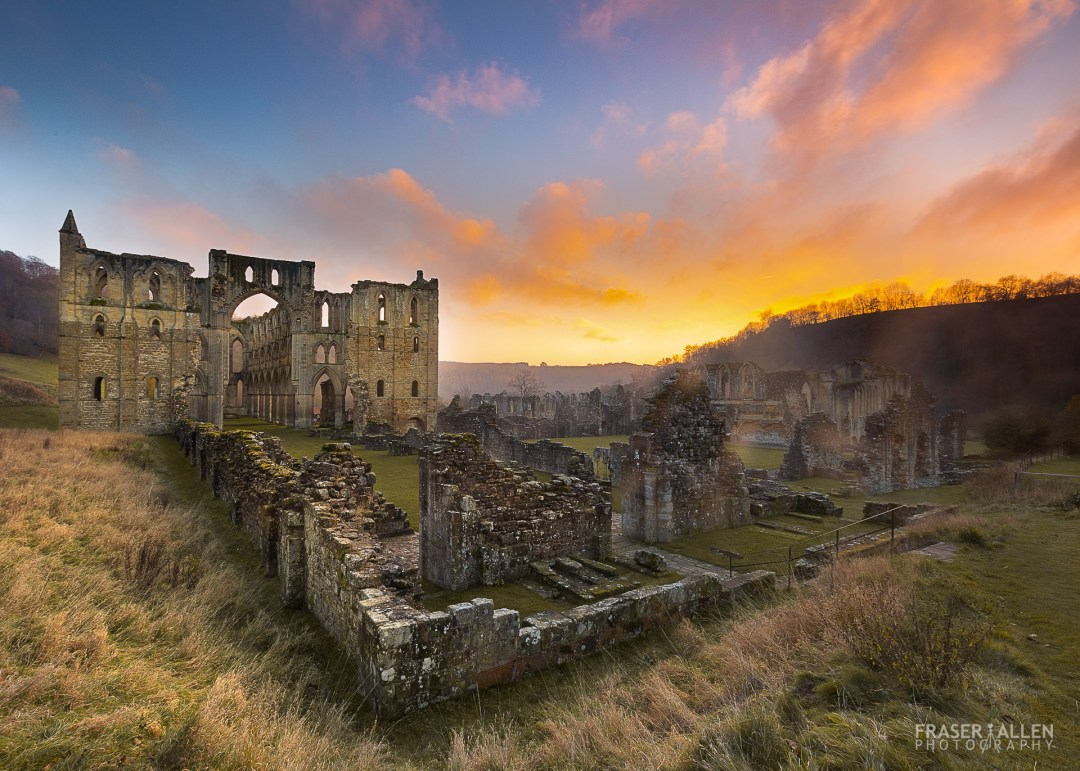 sunset at Rievaux Abbey ruins