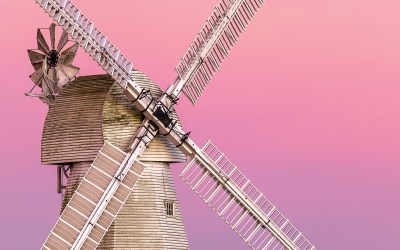 Sunset behind the windmill