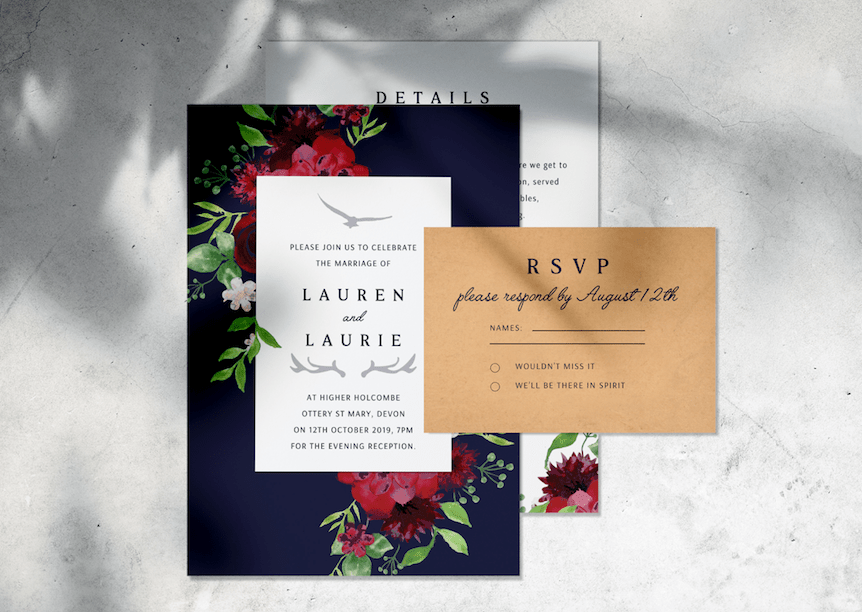 Watercolor: Designed by Freepik Mock-up: https://www.freepik.com/free-psd/save-date-wedding-invitation-card-mockup_4153288.htm