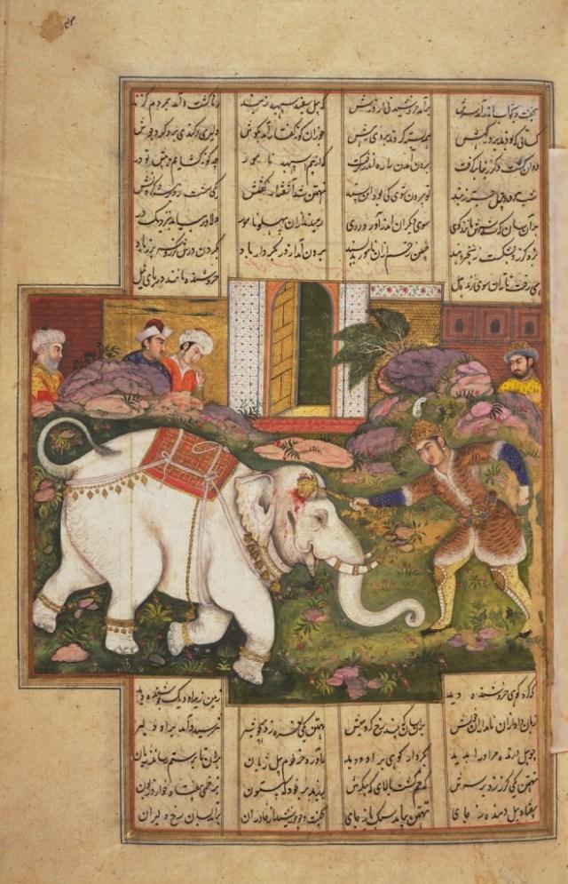 Rostam kills the white elephant