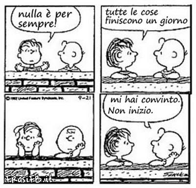 Vignetta facebook Charlie Brown nulla è per sempre