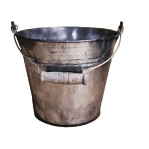 Secchiello zinco antico con manico legno D12 H10 cm