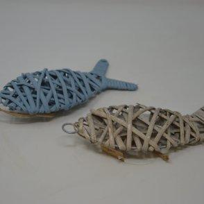 Pesce in legno azzurro da appendere