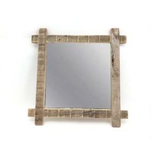 Specchio quadrato con cornice legno naturale
