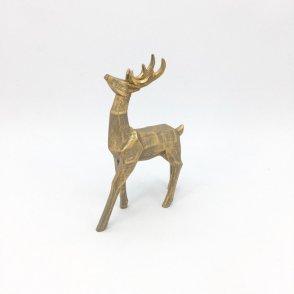 Cervo grigio foglia oro 18×6 H29 cm