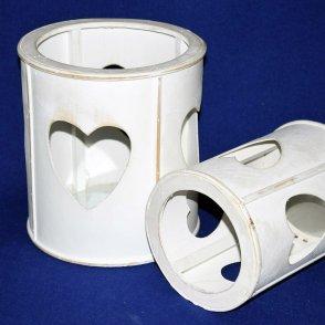 Set 2 Lanterne legno bianco con cuore