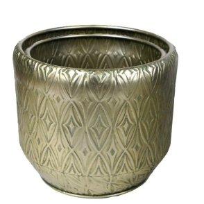 Portavasi metallo oro set 2pz D29,5 H26,5-G D34,5 H28,5 cm