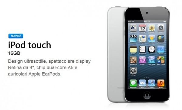 Nuovo iPod Touch 5G da 16 GB: Prezzo e caratteristiche tecniche
