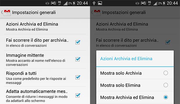Attivare tasto Elimina nuovo Gmail per Android