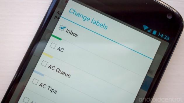 Configurare etichette e cartelle su Gmail 4.5 per Android