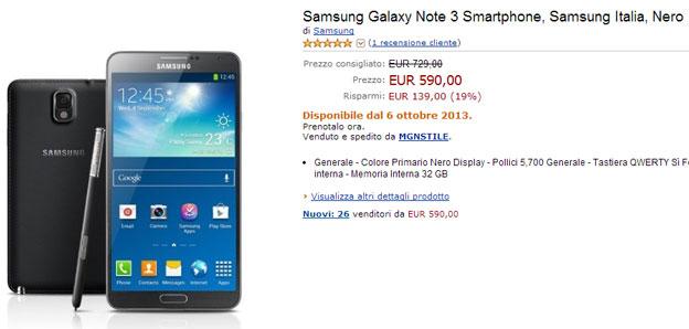 Offerta Galaxy Note 3 Italia a 590 euro su Amazon.it