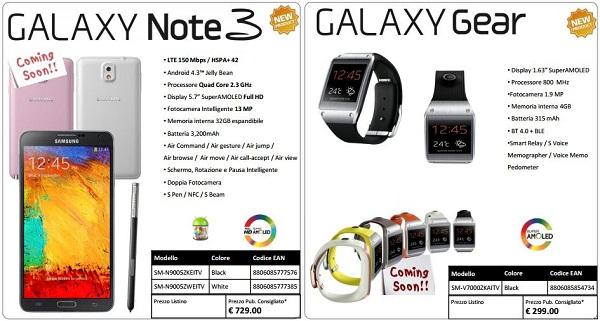 Samsung Galaxy Note 3 e Galaxy Gear: Prezzo italiano e data uscita