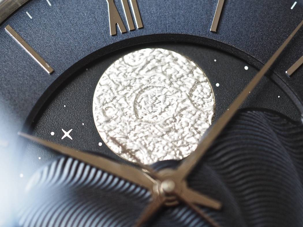 The Christopher Ward C9 Moonphase features a stamped and galvanized moonphase wheel