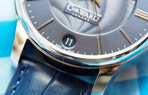 The Christopher Ward C9 Moonphase features a date window at 6:00