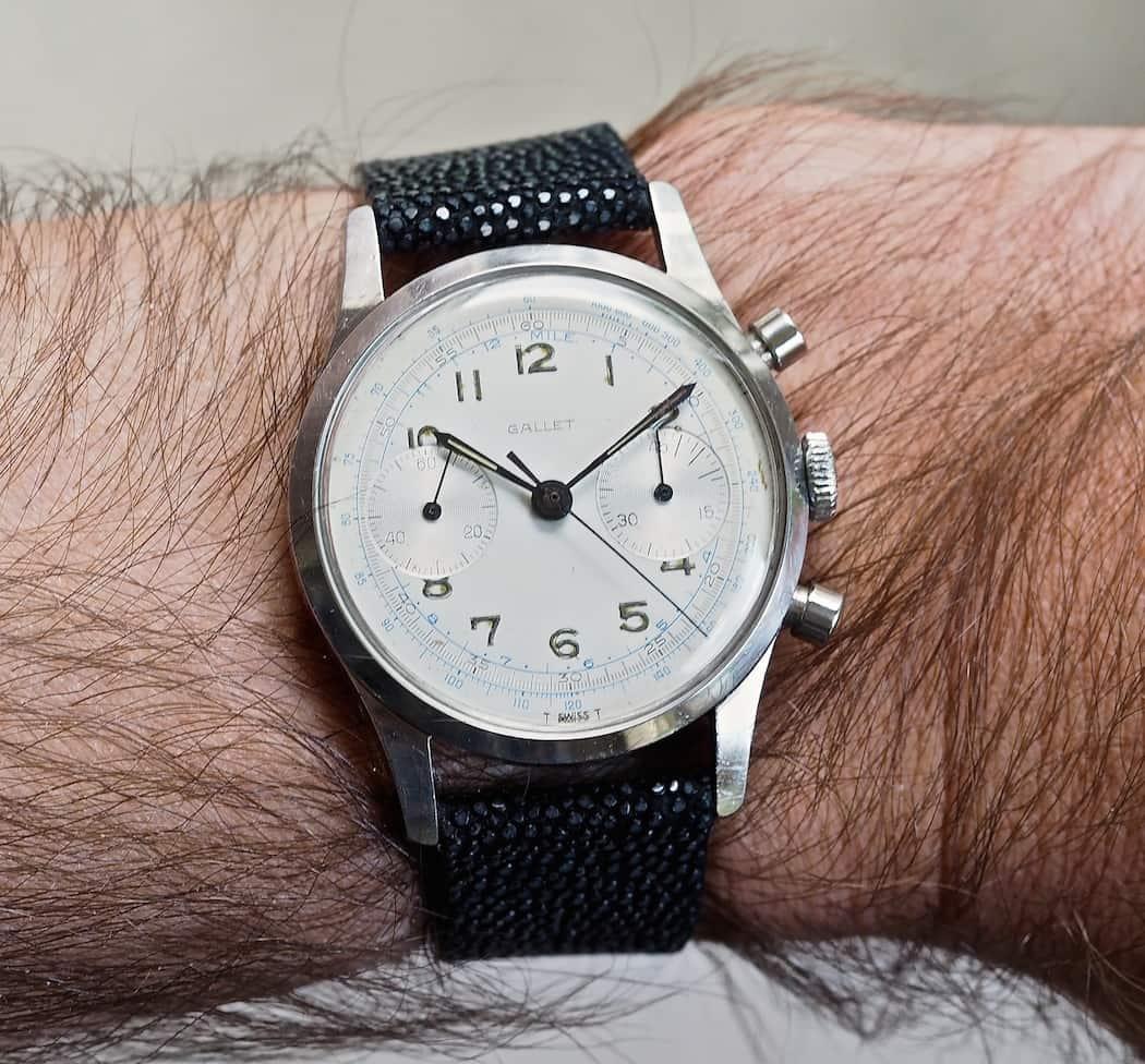 Gallet Multichron 45 on the wrist
