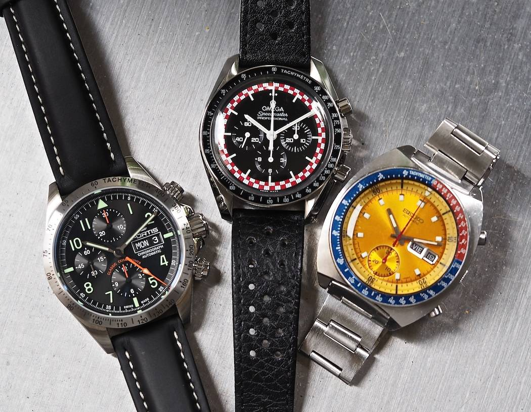 "A space theme: the Fortis Classic Cosmonauts, an Omega Speedmaster Professional and a Seiko 6139 ""Pogue"""
