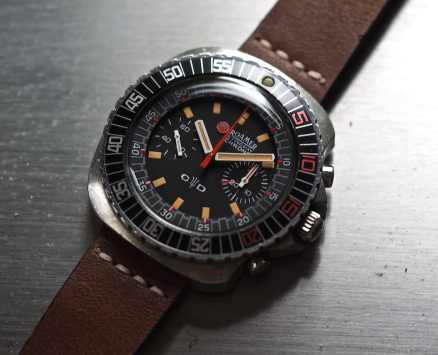 The depth below the crystal of the Roamer Stingray Chrono Diver is actually quite shallow and that inner bezel is lovely