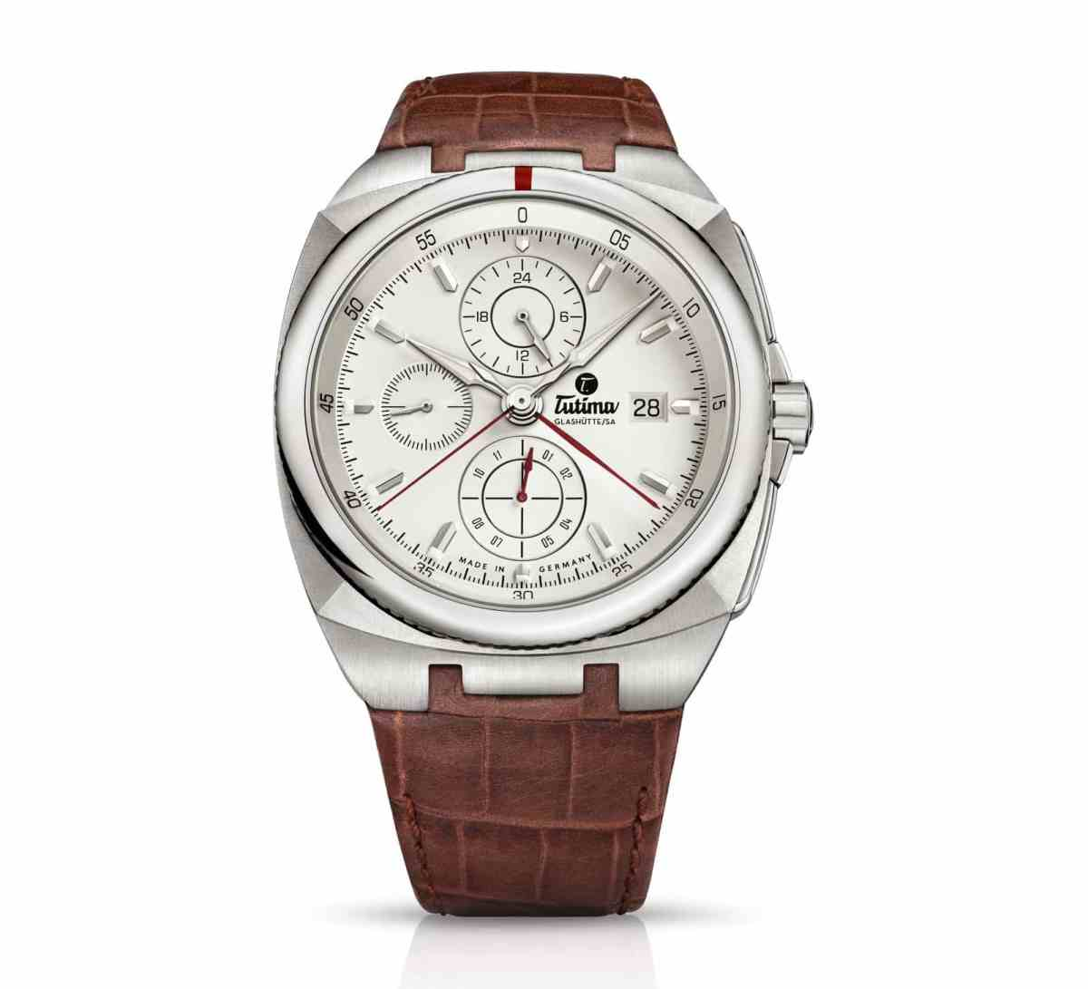 Highlight of the new collection: SAXON ONE chronograph, with alligator leather strap, ref-no 6420-04.