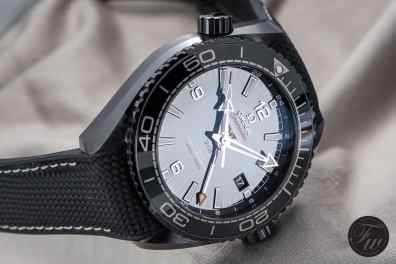 Shiny dial of the Planet Ocean Deep Black