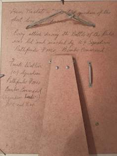 Written in hand by FWW on back of 109 badge approval motto and fact of Battle of Ruhr-1