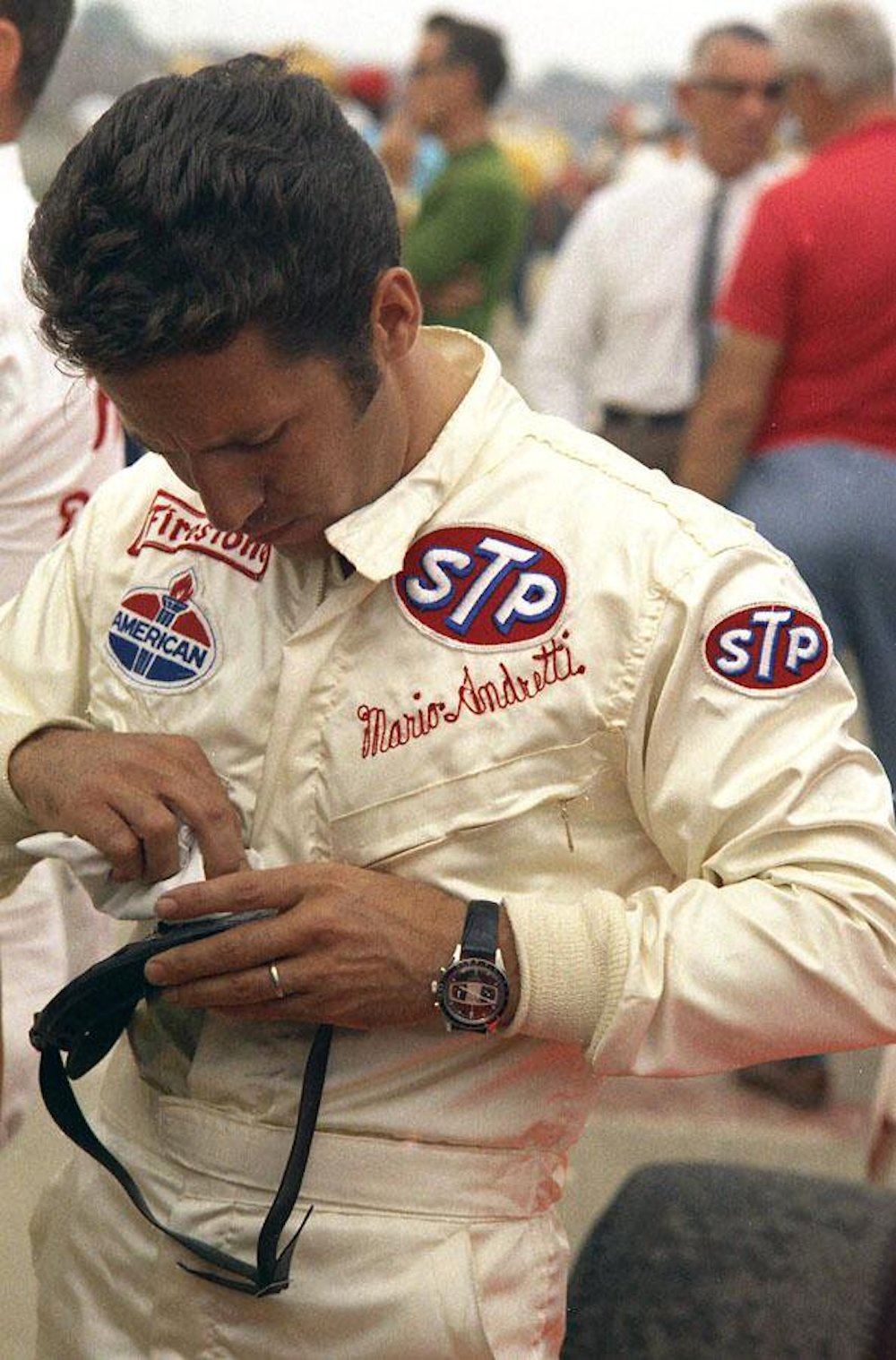 Mario Andretti seen with either a LeJour or Yema Rallye on the wrist during the 1969 Indy 500 - his sole win of the legendary race (photo credit: OnTheDash.com)