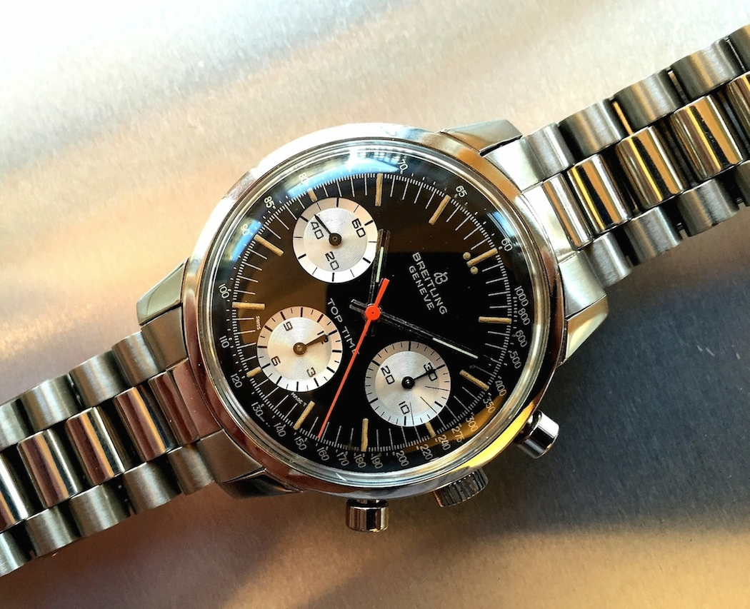 A reverse panda Breitling Top Time 810 2nd execution housing the lovely Venus 178 movement. This was debunked as a Jim Clark watch.  (photo credit: @watchfred)