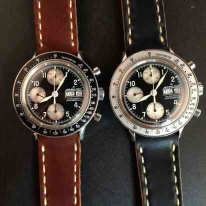 "A couple ""funky"" Hamilton chronographs on Rover Haven Arts & Crafts straps"
