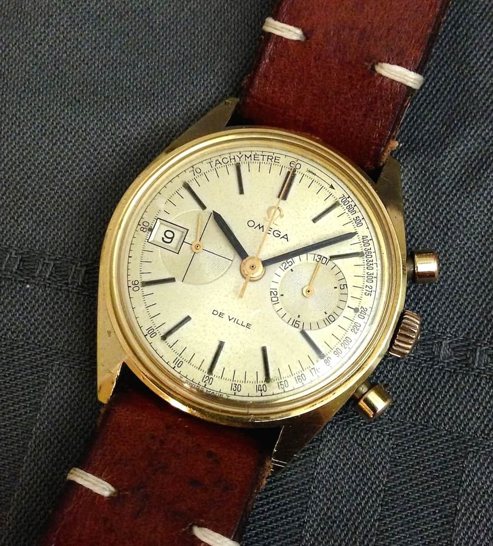 A healthy dose of patina on the Omega DeVille chronograph, but it's a stunner of a watch!
