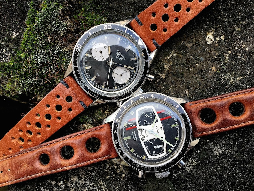 A look at Mario Andretti's watches...the Heuer Autavia 3646 and the Yema Rallye (photo credit: @watchfred)