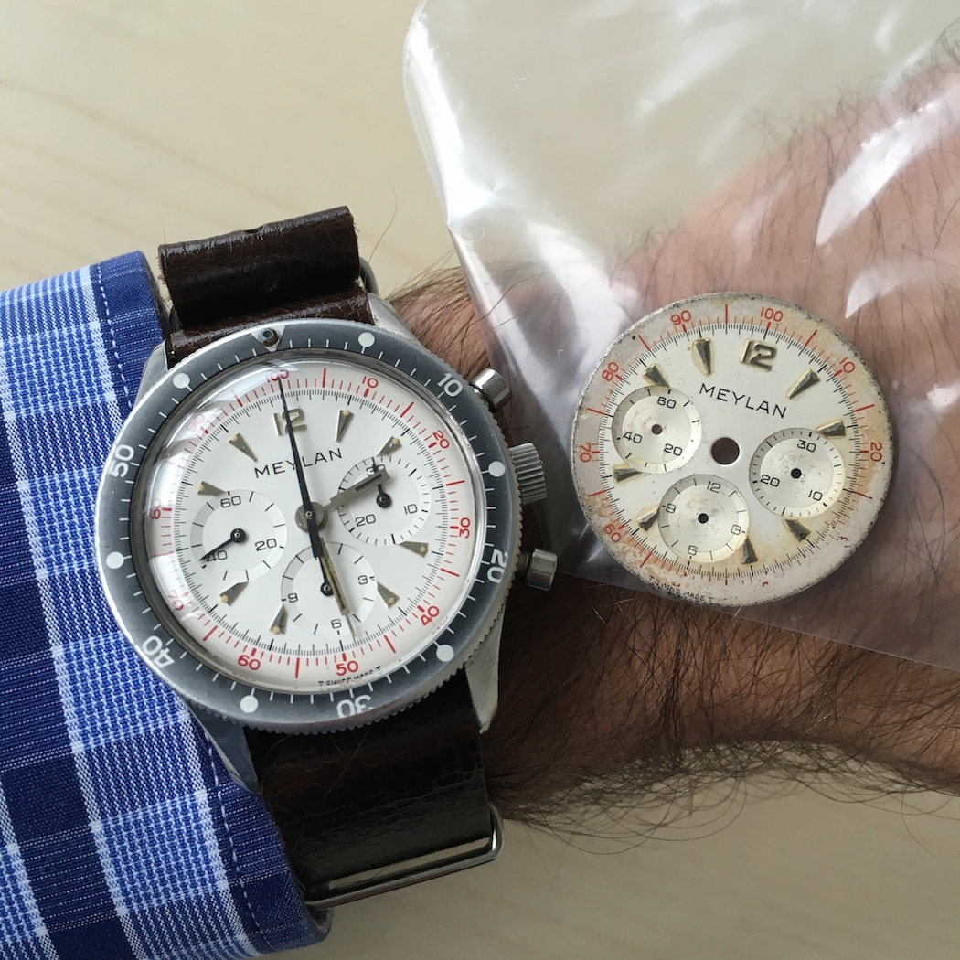 The Meylan Chronograph on the wrist with its NOS dial and the original dial happily removed.