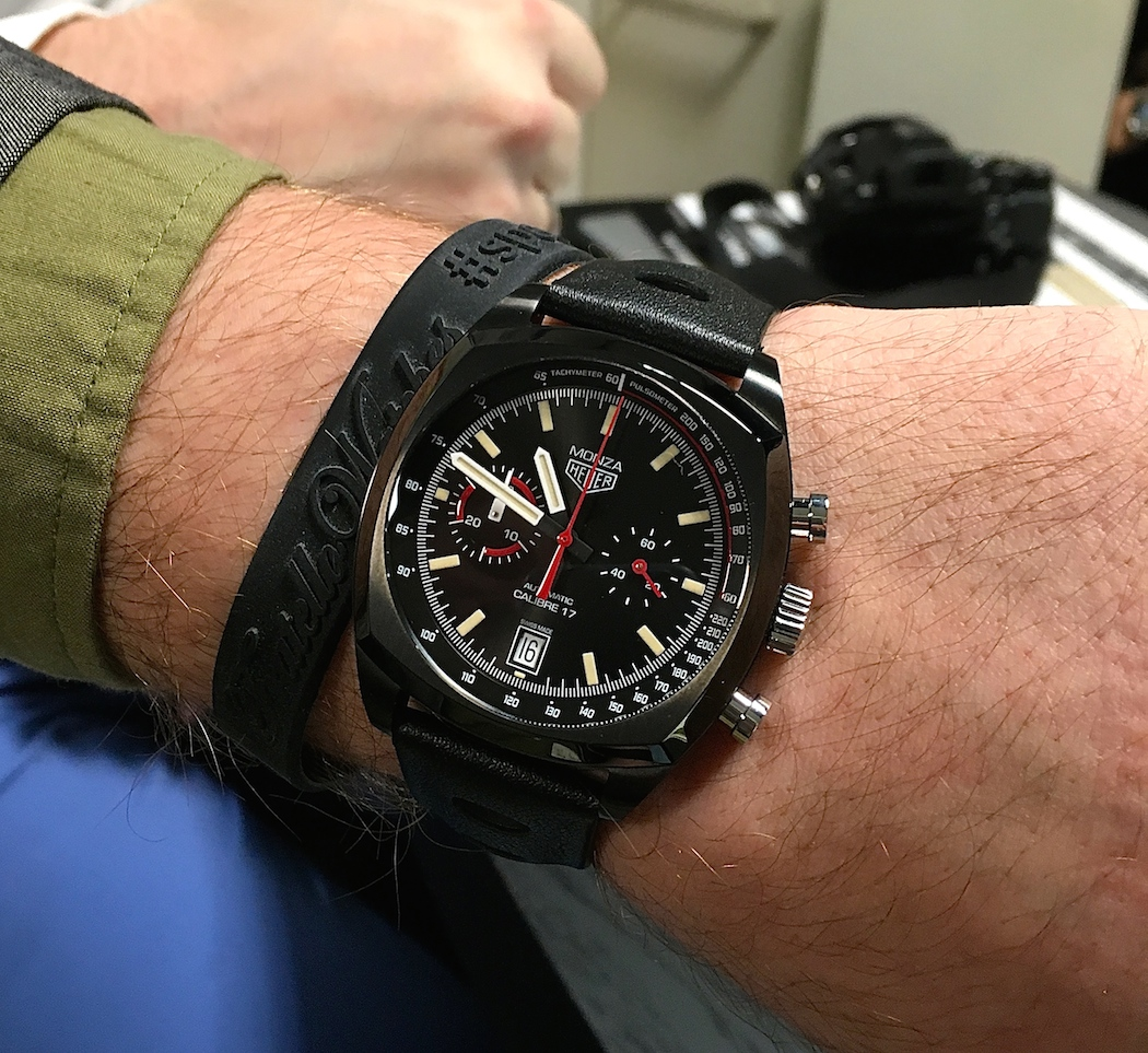 The TAG Heuer Monza on the wrist of Blaise...looking much better on him than it did me