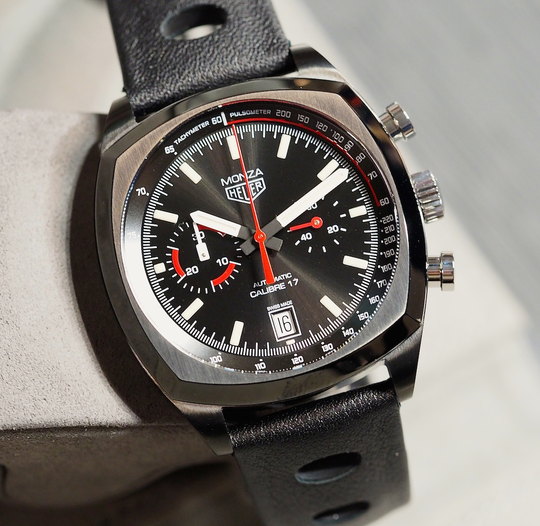 THe TAG Heuer Monza features very 70's styled hands - note the left sub register