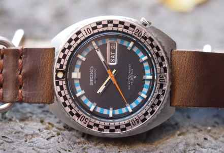 Seiko Rally Diver on its side