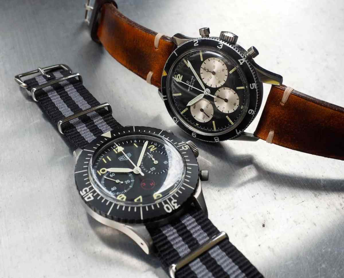 Next to another big pilot's watch...the Breitling 765CP is one piece that doesn't cower to the size of the Heuer Bund
