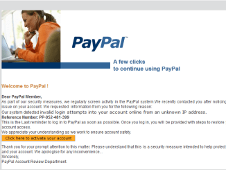 PayPal Account Notice Phishing