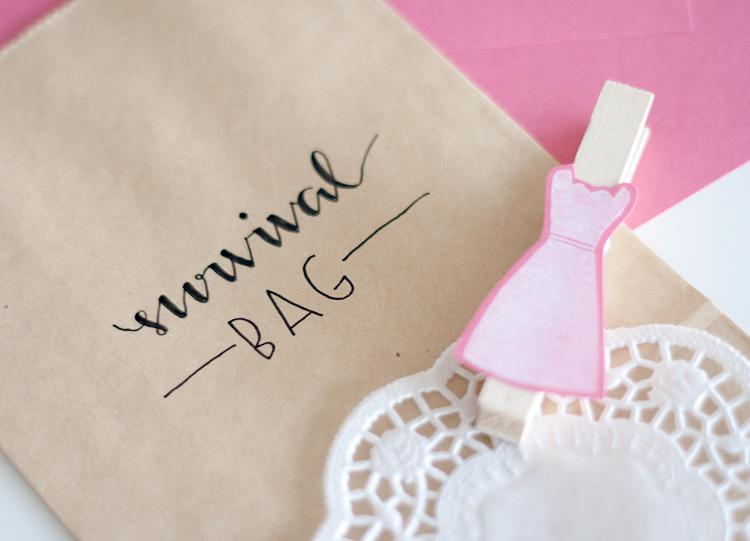 DIY Survival Bag fr Brautkleid Shopping zur HochzeitFrau